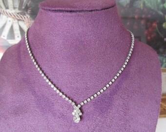 Vintage Rhinestone necklace, Silver tone Metal, Clear Rhinestones, Bridal Gift