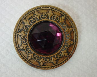 """Antique Vintage Button Metal Gay Nineties with Purple Glass Faceted Cut Center 1 5/8"""""""