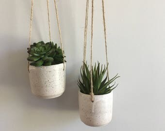 Hanging Planter Pair  //  Minimal - White - Succulents - Small - Planter - Air Plant - Rustic - Speckled - Boho - Container