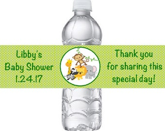 20 Personalized Jungle Zoo Safari Animals Water Bottle Labels with Elephant, Lion, Giraffe, Monkey, and Zebra Water Bottle Stickers