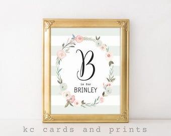 Nursery Name Sign, Brinley, Nursery Decor, Baby Shower Gift, Nursery Art, Custom Baby Name, Nursery Wall Art, Gray and Pink, Digital Print
