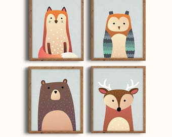 Woodlands Print Set, Woodland Animals Print Set, Woodland Nursery, Forest Nursery, Wall Art, Printable Art, Digital Prints, Instant Download