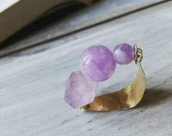 Wire wrapped Ring, brass ring, handmade ring, amethyst ring, cocktail ring, personalized ring, boho band, made in italy