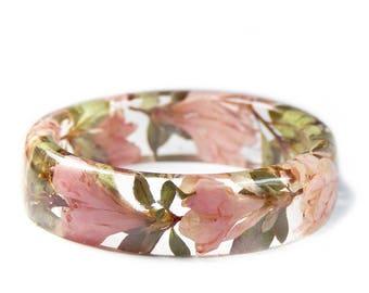 Pink Flower Bracelet - Real Flower Jewelry- Flower Jewelry- Jewelry with Real Flowers- Pink Flowers- Green Bracelet - Pink Bracelet