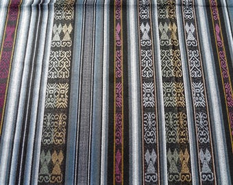 Ecuador Fabric wide yardage tablecloth w/fringe Andean motifs gray black maroon stripe tightly woven acrylic SouthWest style - TWO yard cut