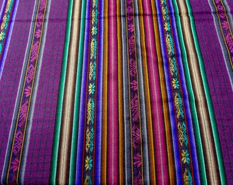 "Ecuador Fabric 54"" wide - 2 + yard cut - Table cloth yardage - purple plaid  + South West stripes - Andean motifs tight suiting loom woven -"