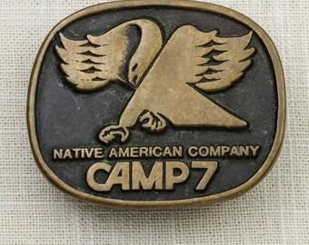 Native American Company Camp 7 Belt Buckle Bird Talon Anacortes Brass Works Ltd 19981 Solid Brass Handmade in USA Vintage Belt Buckle 7F
