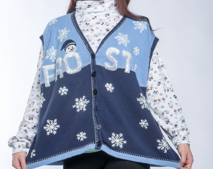 Vintage Ugly Christmas Sweater Vest & Turtleneck (Ugly Hanukkah) | Frosty Snowman Blue Snowflake XL Plus Size Vintage Winter Holiday 6CB