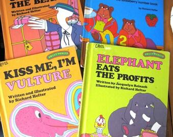 Sweet Pickles Books by Richard Hefter/Vulture/Elephant/Stork/Bears Hardcover Book Lot