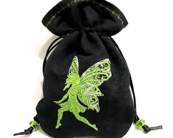 GREEN FAIRY - Embroidered Drawstring Dice Bag, Rune Pouch, Tarot Card Bag made of faux suede - LARP Costume Accessory