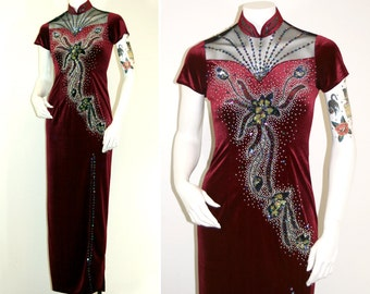 Vintage Maroon Beaded Velvet Cheongsam Dress / Short Sleeve Floral Sequin Bombshell Pinup Bodycon Party Dress