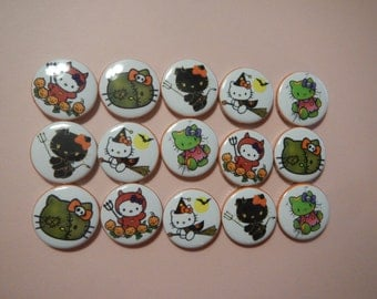 15 Zombie Witch Kitty Inspired  Craft Flat Back Embellishment Buttons