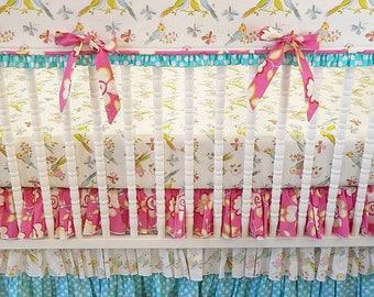 Crib Bedding, Girl Baby Bedding, READY TO SHIP, Lovebird Bedding, Bumperless Crib Bedding, Bird Bedding, Bird Nursery