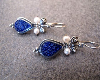 Lapis Lazuli Mozaic Sterling Silver Earrings with Pearl beads