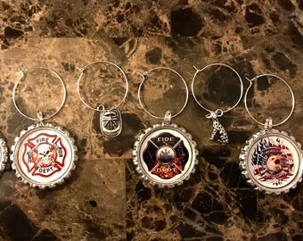 Set of 7 Firefighter fire rescue wine glass charms