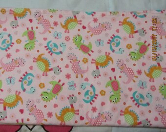 Lime Blue Orange Monster Dinosaurs on Pink  Extra Large 41 x 41 Handmade Flannel Receiving Swaddle Baby Blanket