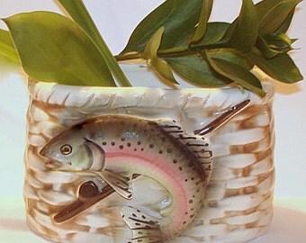 Fish Planter Vase Rainbow Trout Vintage Ceramic 3-Dimensional Trout Image Fishing Fisherman Planter Outdoors Man's Gift Desk Accessory
