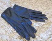 Vintage Dark Blue Leather Ladies Wrist Gloves Size Small 6.5 (10A)