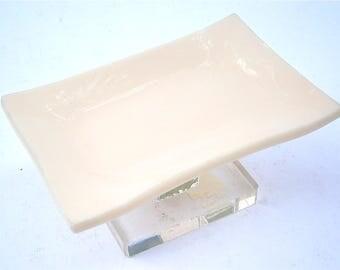 Vintage Beige Soap Dish Holder Solid Color Clear Acrylic Lucite Stand Pedestal Retro Minimalist Mod Bathroom Vanilla Modernist Hard Plastic