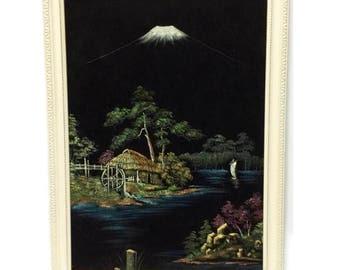 Vintage VELVET painting, japanese landscape scene with Mount Fuji, mid century kitsch