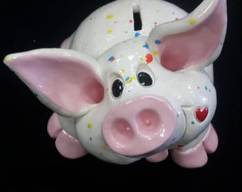 Piggy banks, Valentines day gifts, pence, Clay pigs, cute , ceramic pigs, stoneware pigs, handmade, whimsical pigs, funny pigs, Pencepets
