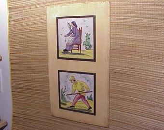 Early Vintage Wall Art Tile Set Framed Folk Pictorial c