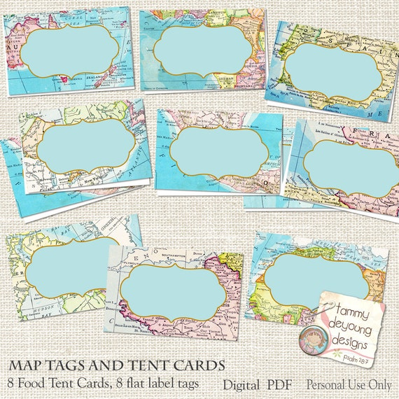 Map Place Cards World Map Tags Tent Labels Digital Buffet - World map labels