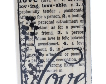 Hampton Art Dictionary Definition of Love Collage Wooden Rubber Stamp