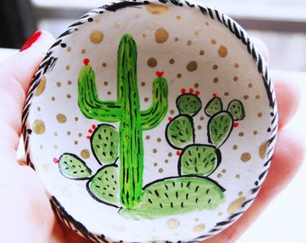 cactus art, ring dish, jewelry holder, catch all, clay art, painted ring dish, trinket dish