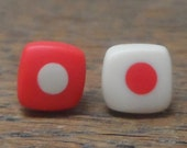 Mini resin studs - red with nude spot and reverse