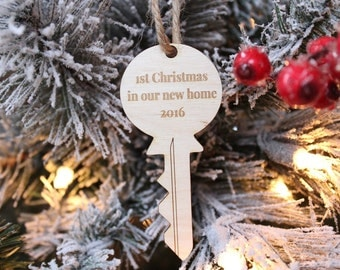 First Christmas In Our New Home Key Ornament Farmhouse Christmas Rustic Christmas Tree Ornament 2016 Ornament