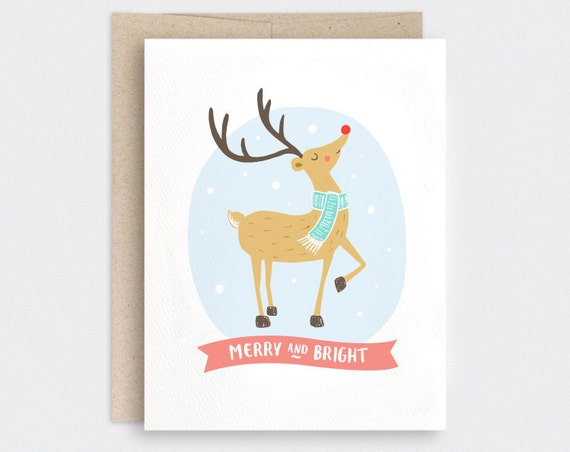 Items similar to cute christmas card funny merry and for Funny reindeer christmas cards