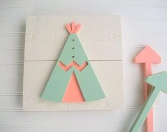 Teepee Nursery . Baby Girl . Woodland Baby Girl . Teepee . Boho Baby  . Wood TeePee . Coral and Mint . Tribal Nursery Art . Woodland Decor