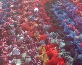 Dragon Colored Fuchsia Inspired Crocheted Oval Rag Rug