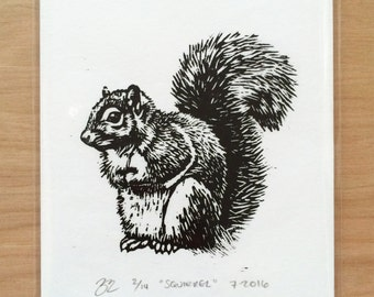 Hand Printed Squirrel Woodcut