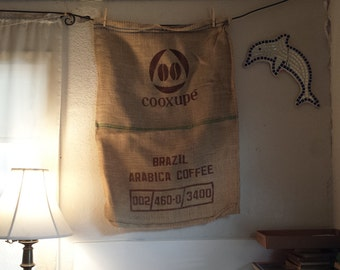 extra large burlap bag for decor | used coffee burlap bag cottage | farmhouse kitchen decor | country kitchen wall decor | burlap cafe decor