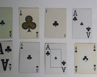21 vintage Ace playing cards   ace of clubs   instant collection of aces   supplies   collage supplies   ATC supplies   DIY business cards