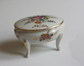 vintage ajco France trinket box with florals | vintage France jewelry box | trinket Made in France  vintage porcelain France storage trinket
