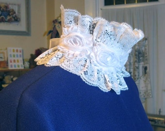 victorian lace choker collar. lovely white lace with large white chiffon roses bridal wedding accessory