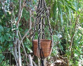 Black Jute 33 Inch No Beads Macrame Plant Hanger