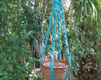 Turquoise 47 1/2 Inch No Beads Macrame Plant Hanger