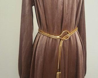 Vintage 1970s Maxi Dress. Designer Kolodzie. Silky Mocha Lightweight Velvet Boho Gown. Small to Medium