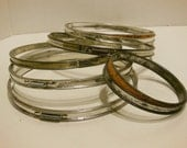 metal embroidery hoops,  cork lined, spring closure, vintage sewing, quilters supply, collection of 6