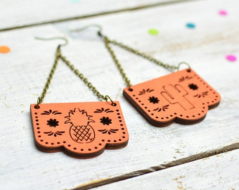 Mexican Bunting Earrings, Orange Papel Picado Jewellery, Dia De Los Muertos, Dangle Earrings, Nickel Free