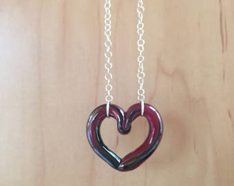 Black and Red Glass Heart Necklace