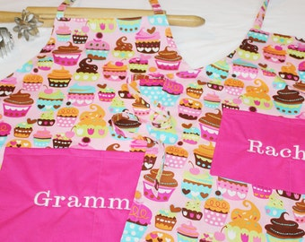 Personalized Pink Sweet Cupcakes Mother Daughter Aprons with hot pink pockets - made to order