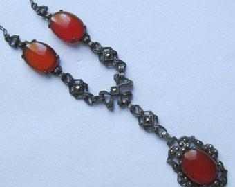 On Sale Antique Carnelian Sterling Silver Marcasite Necklace Art Deco Jewelry