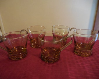 Vintage 1950s to 1970s Amber/Topaz Glasses Set of 5 (Five) Gold Tone Metal Holders with Greek Key Style Libbey Retro Coffee/Tea/Drinking