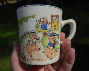 Vintage 1930s Three Little Pigs and the Big Bad Wolf Nursery Rhyme Mug Salem Made in America Walt Disney Enterprises Retro Art Deco Era