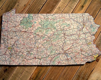 PENNSYLVANIA State Vintage Map Wall Art (Large size)